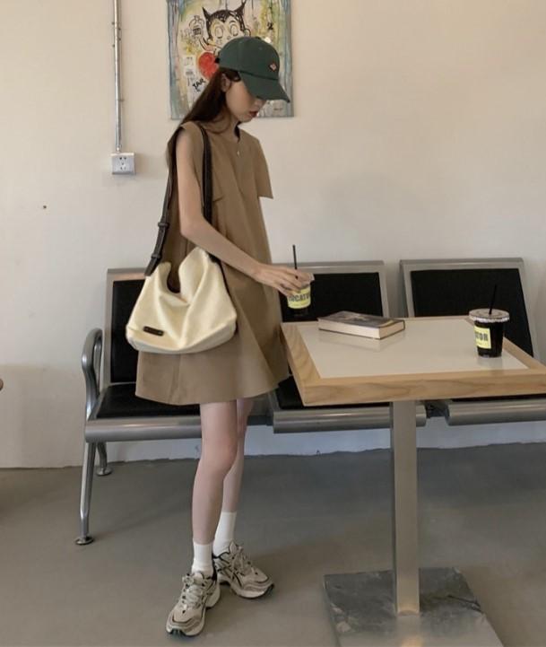 【預購】法式設計款.顯瘦無袖A字短洋裝~3色