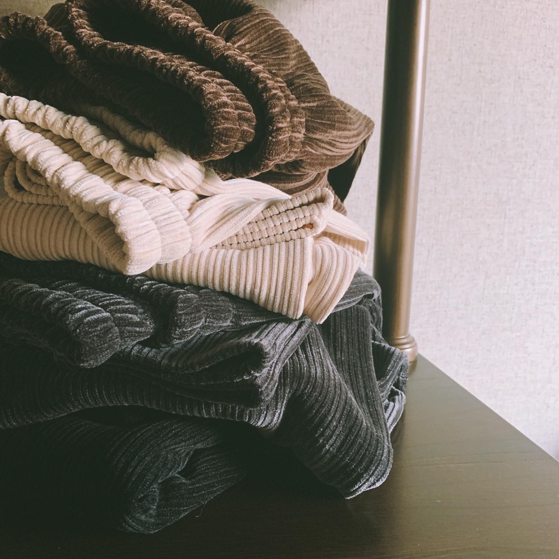 【預購】秋冬超百搭!挺版 坑條燈芯絨 彈力腰圍寬褲~4色