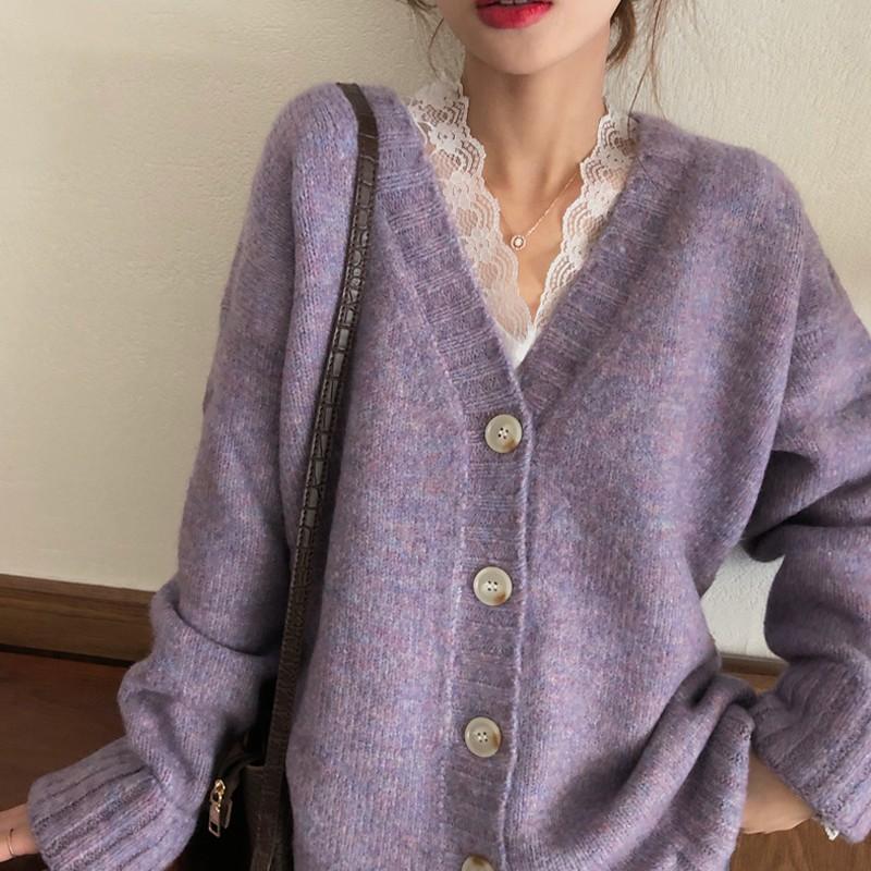 【預購】可愛慵懶風.混織紫色排扣毛衣上衣外套