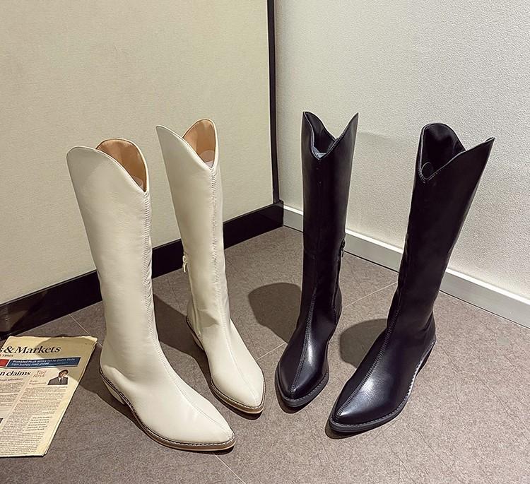 【預購】今年必備款!前V口設計 超顯瘦低跟騎士靴~4款