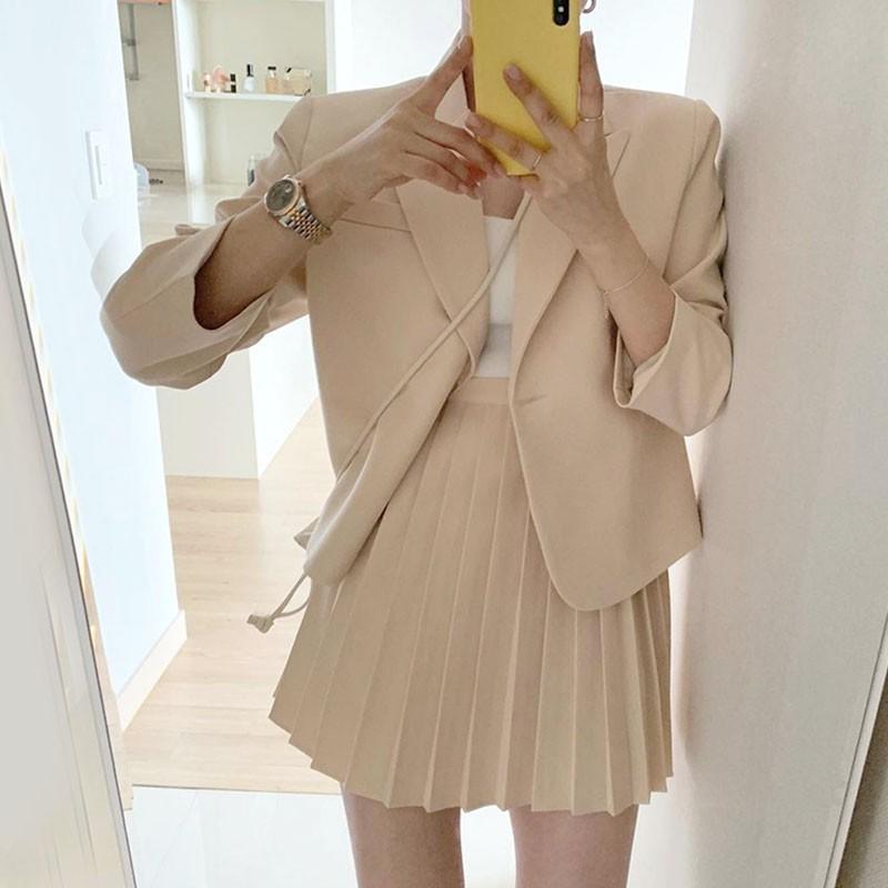【預購】韓風 短版西裝外套+百褶裙 西裝套裝~2色(外套與裙子需分開購買)