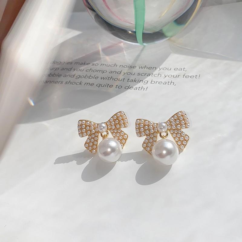 【預購】輕奢質感.小香風 蝴蝶結珍珠耳環(耳針、耳夾款都有)
