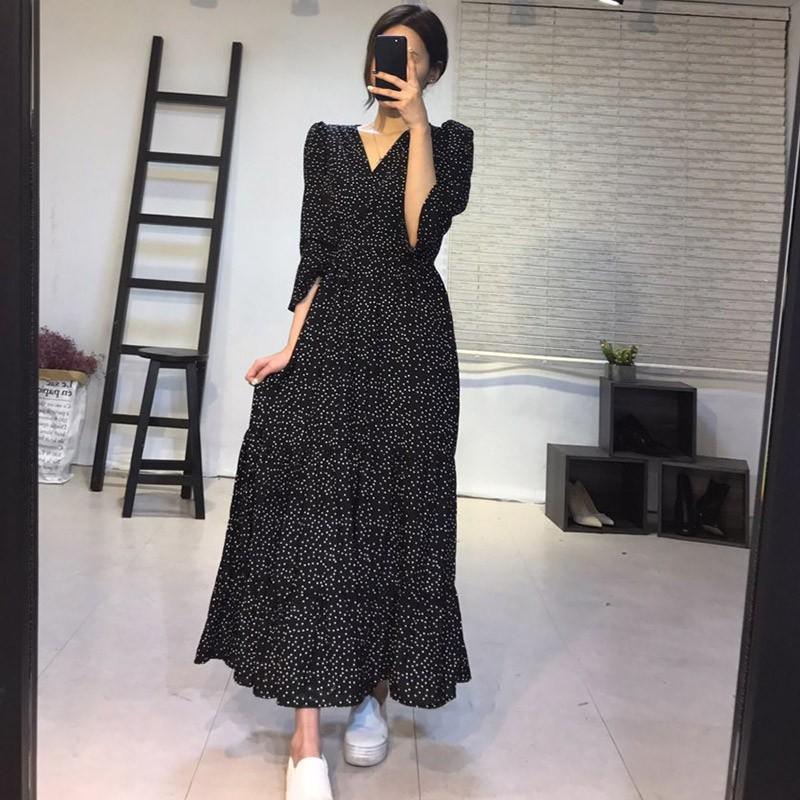 【預購】法式波點V領蛋糕長洋裝