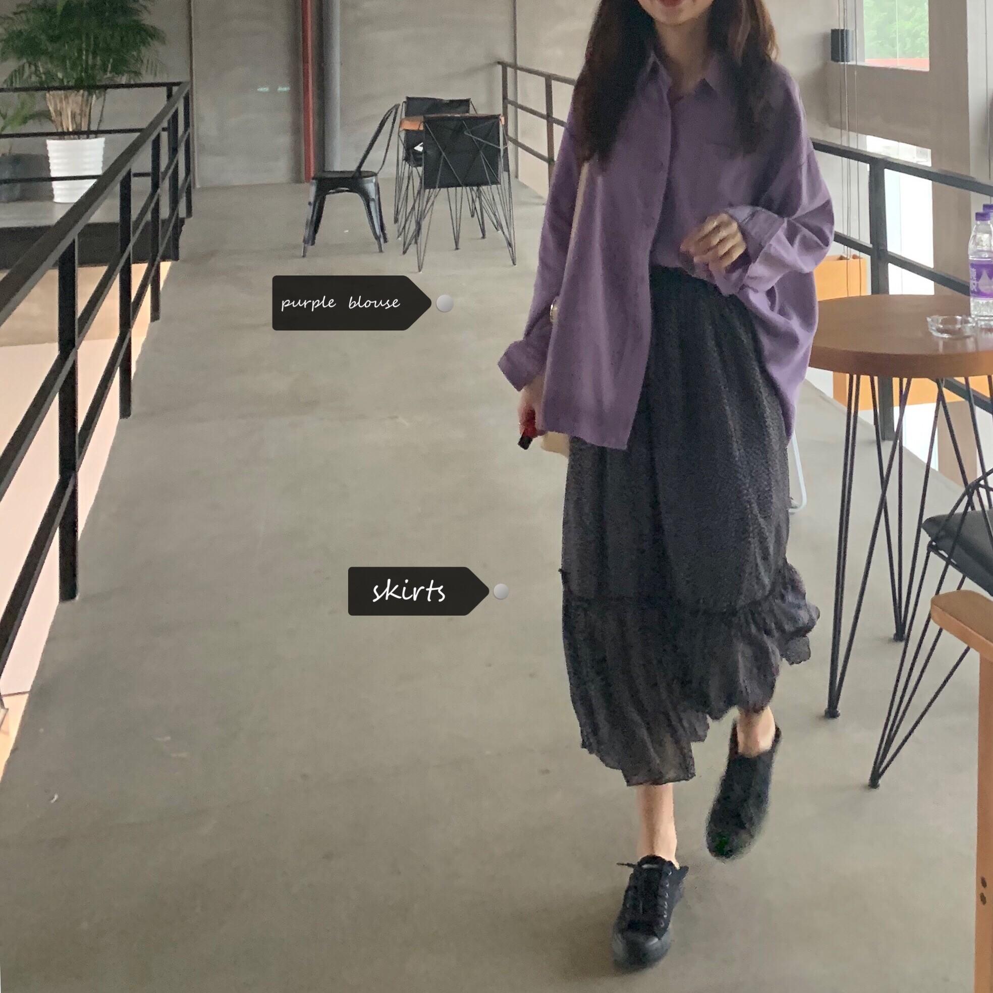 【預購】等著他的她.淡紫色襯衫上衣 + 碎花魚尾半身裙套裝(兩件需分開購買)