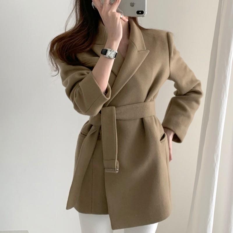 【預購】韓版優雅風綁帶毛呢西裝外套~3色