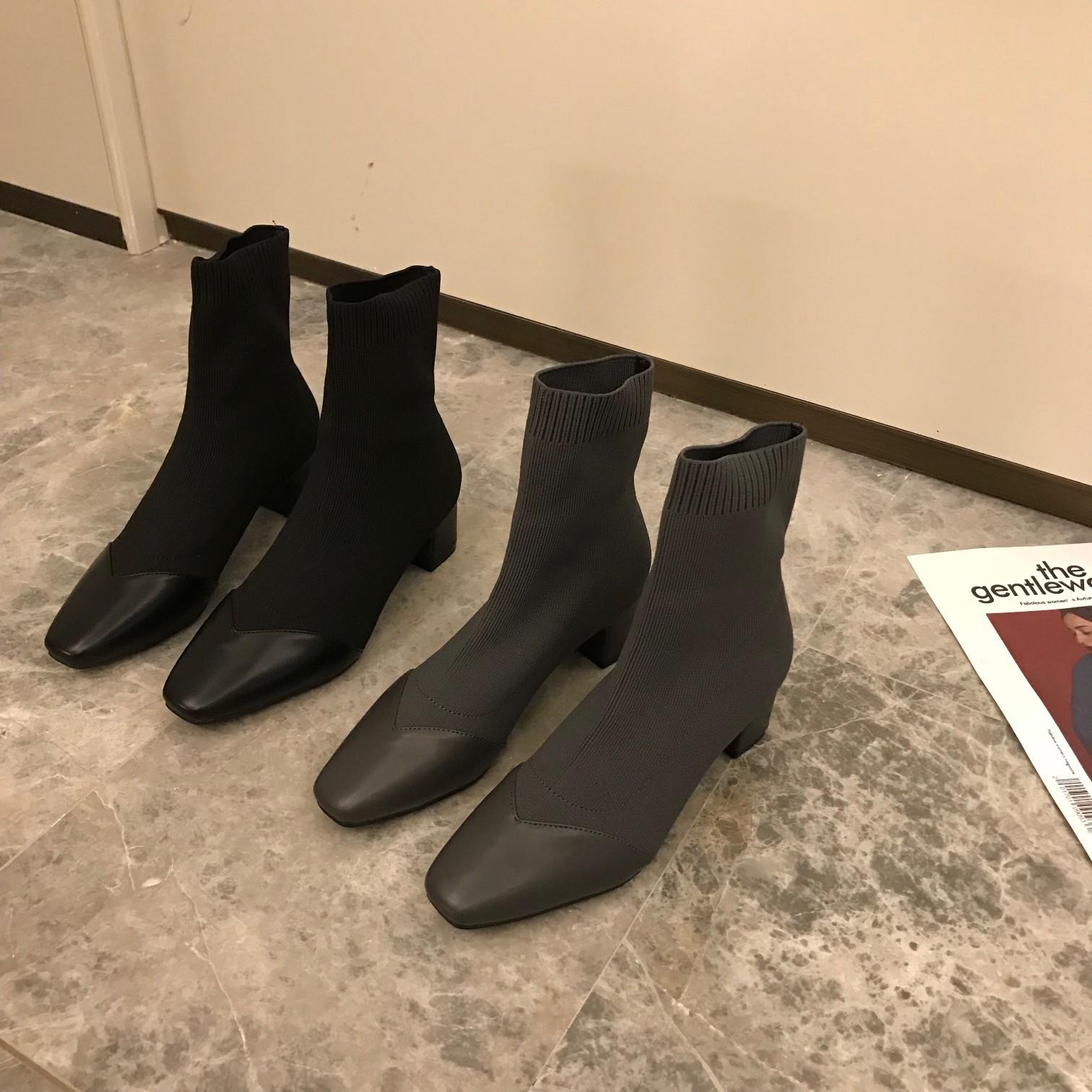【預購】東大門同款.秋冬穿搭必備彈力拼接材質襪靴~2色(35~40)