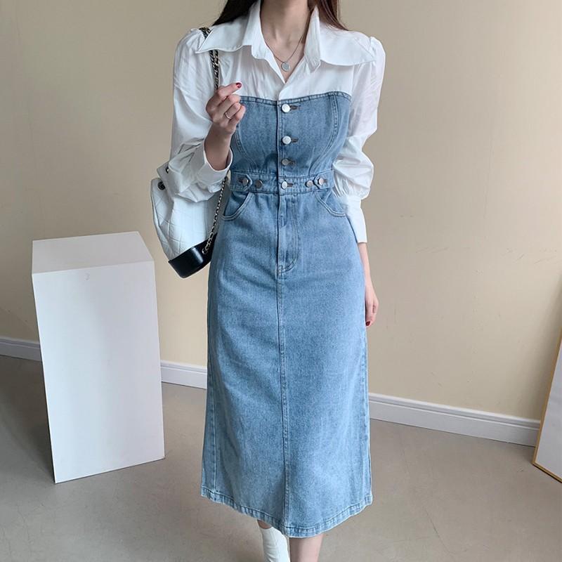 【預購】知性女子專用.不煩惱搭配的假兩件襯衫牛仔洋裝~2色