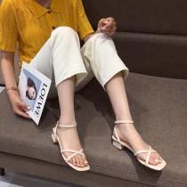 【預購】簡約交叉氣質款粗跟涼鞋~2色
