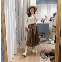 【預購】文藝女子專用.都帶一件百搭到炸的深棕色半裙