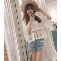 【預購】法式浪漫風 重工棉質蕾絲 微透膚罩衫上衣~2色
