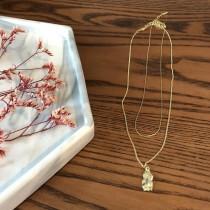 【預購】穿搭實用單品.微立體樹葉 金色雙層項鍊
