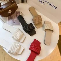【預購】鞋櫃必備款!微知性編織款平底拖鞋~5色(35~42)