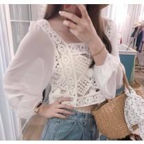 【預購】歐膩的衣櫃.棉質蕾絲拼接雪紡 方領襯衫上衣~2色