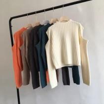 【預購】法式輕設計.挖肩 百搭款坑條厚針織上衣~5色