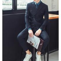 【預購】英倫風雙排扣正裝西裝三件套~2色