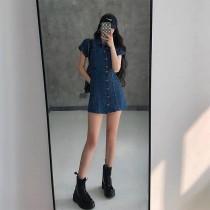 【預購】歐美甜酷風 設計款 斜扣牛仔短洋裝