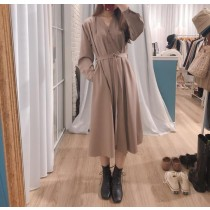 【預購】法式日常.一件可以出門的排扣綁帶洋裝