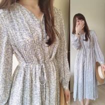 【預購】東大門款.夢幻色系 輕設計 碎花綁帶長洋裝~2色