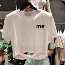 【預購】東大門款.背後縷空設計 小墊肩短版Tee~2色
