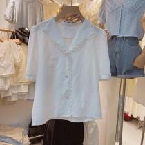 【預購】東大門款.西裝領棉質蕾絲襯衫上衣