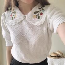 【預購】東大門款.輕設計刺繡 冰絲針織衫
