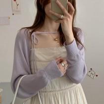 【預購】溫柔女子專用.小眾設計 冰絲針織 防曬綁帶開衫小外套~4色
