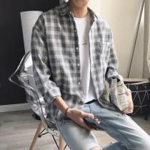 【預購】日系文青格紋襯衫~3色