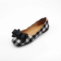 【現+預】格紋蝴蝶結方頭平底鞋~2色