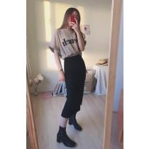 【預購】日常超百搭!寬鬆顯瘦字母Tee+超彈力開衩包臀裙套裝