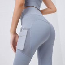 【預購】運不運動都能穿!可以放手機 拼接網紗全彈力瑜珈褲~6色(S~2XL)