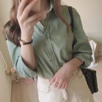 【預購】設計師款.莫蘭迪復古綠 簡約挺版長袖襯衫