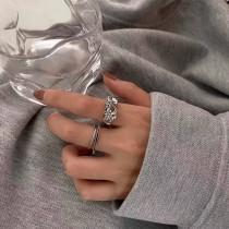 【預購】設計款.皺褶感 銀色開口戒指