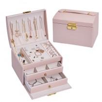 【預購】法式質感.三層大容量 皮質飾品盒首飾盒~4色