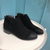 【現貨】真皮英倫風手工擦色踝靴(黑色40號)