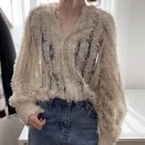 【預購】韓風V領顯瘦流蘇蕾絲襯衫上衣~2色