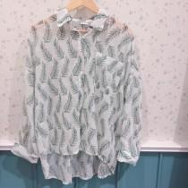 【預購】限量款-度假風葉子雪紡襯衫上衣~2色(沒有喊單請勿購買)