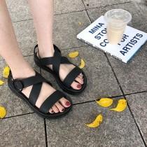 【預購】文藝風百搭款簡約厚底羅馬涼鞋~3色