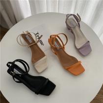 【預購】俐落女子.法式簡約一字帶粗跟涼鞋~4色