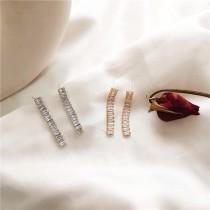 【預購】名媛風俐落感鋯石925銀針垂墜耳環~2色