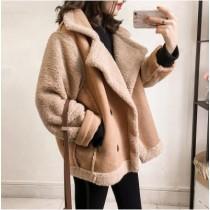 【預購】羊羔毛x絨面異材質拼接西裝領大衣外套~3色