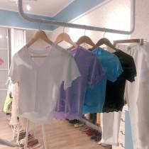 【預購】法式微甜女子.質感木耳邊彈力小T-shirt~8款