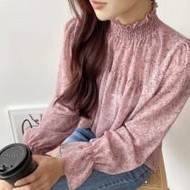 【韓製.預購】精緻女子.碎花荷葉邊設計款襯衫上衣~3色