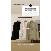 【預購】限量-夏天可以穿得住!雪紡雙排扣西裝外套~3色