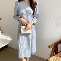 【韓製.預購】歐膩日常的優雅收腰洋裝~3色