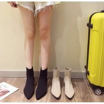 【預購】必備款!復古彈力針織中跟襪靴~2色