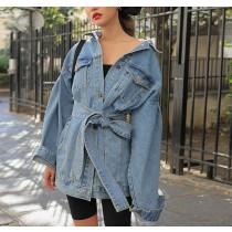 【預購】帥女孩.歐美風率性長版綁帶牛仔外套~4色