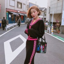 【預購】想度假!波西米亞風撞色針織套裝~2色