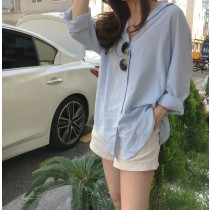 【預購】韓IG 隨性休閒薄款長袖防曬襯衫上衣外套~2色