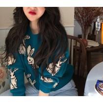 【現貨】韓IG 復古又顯白的微甜兔兔毛衣~2色(Made in Korea)(孔雀藍)