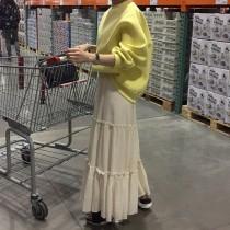 【斷貨款-現貨】鵝黃色衛衣 + 木耳邊長裙套裝(需分開購買)